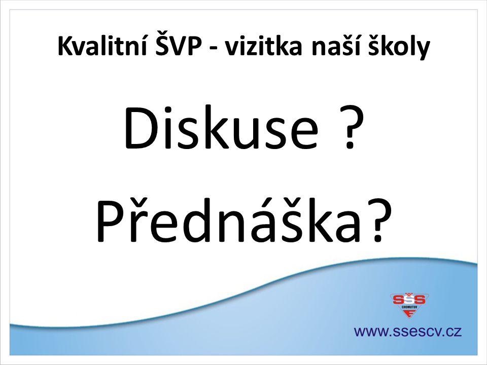 Kvalitní ŠVP - vizitka naší školy Diskuse Přednáška
