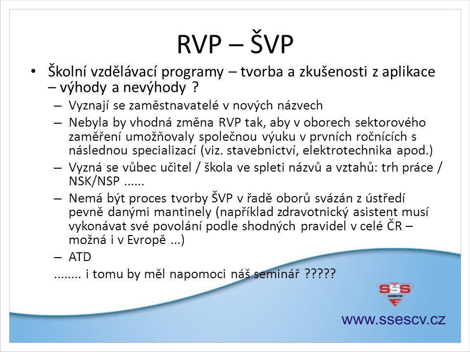 RVP – ŠVP • Školní vzdělávací programy – tvorba a zkušenosti z aplikace – výhody a nevýhody .