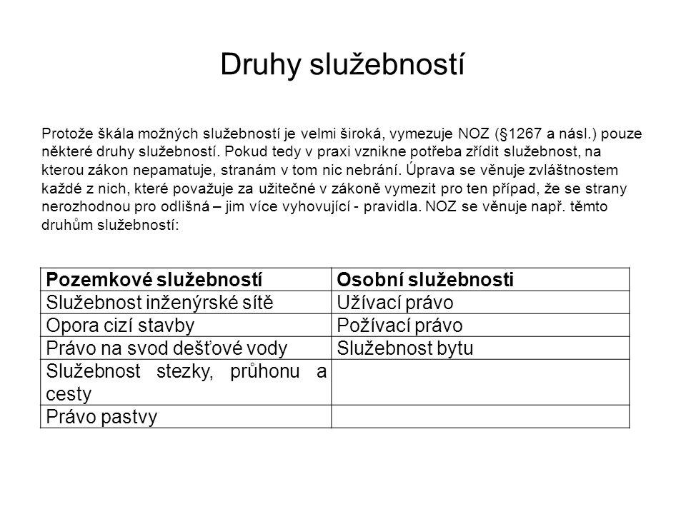 Druhy služebností Protože škála možných služebností je velmi široká, vymezuje NOZ (§1267 a násl.) pouze některé druhy služebností. Pokud tedy v praxi