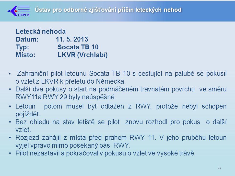 Ústav pro odborné zjišťování příčin leteckých nehod Letecká nehoda Datum:11.