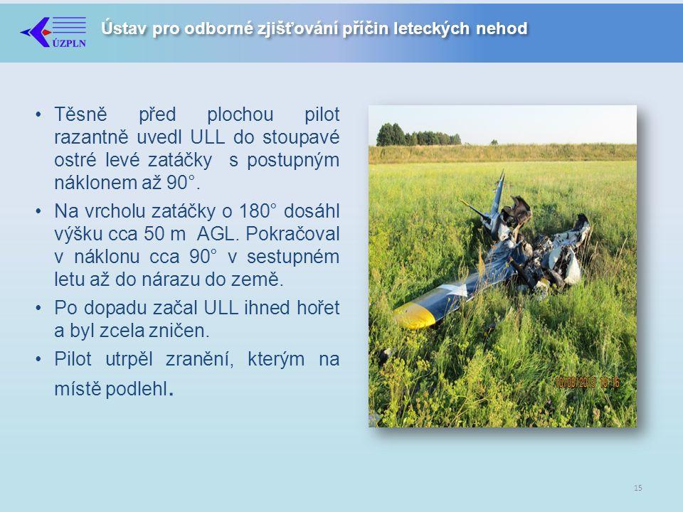 Ústav pro odborné zjišťování příčin leteckých nehod •Těsně před plochou pilot razantně uvedl ULL do stoupavé ostré levé zatáčky s postupným náklonem až 90°.