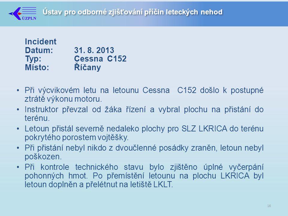 Ústav pro odborné zjišťování příčin leteckých nehod Incident Datum:31.