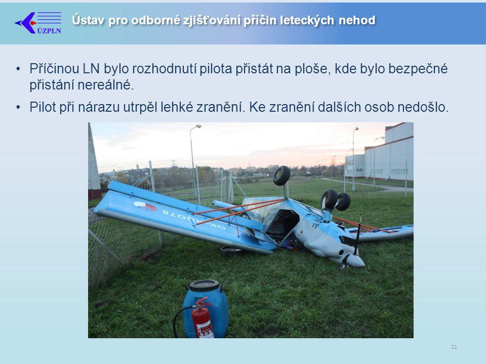 Ústav pro odborné zjišťování příčin leteckých nehod •Příčinou LN bylo rozhodnutí pilota přistát na ploše, kde bylo bezpečné přistání nereálné.