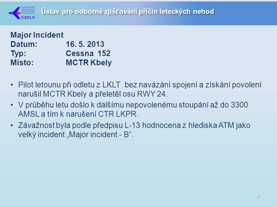 Ústav pro odborné zjišťování příčin leteckých nehod Major Incident Datum:16.