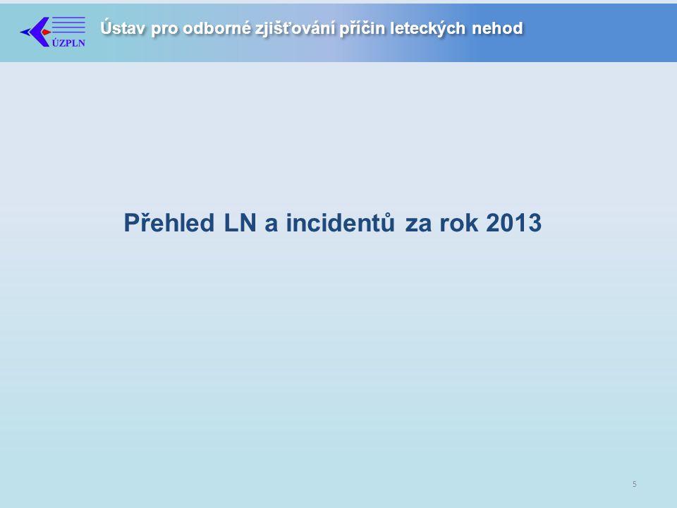 Ústav pro odborné zjišťování příčin leteckých nehod Přehled LN a incidentů za rok 2013 5
