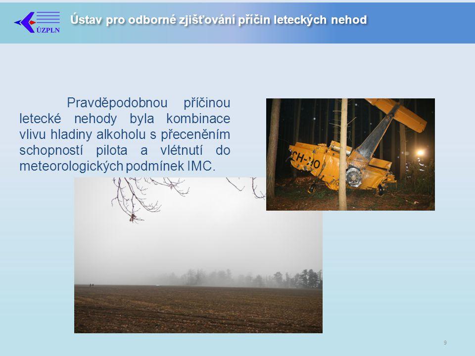 Ústav pro odborné zjišťování příčin leteckých nehod Pravděpodobnou příčinou letecké nehody byla kombinace vlivu hladiny alkoholu s přeceněním schopností pilota a vlétnutí do meteorologických podmínek IMC.