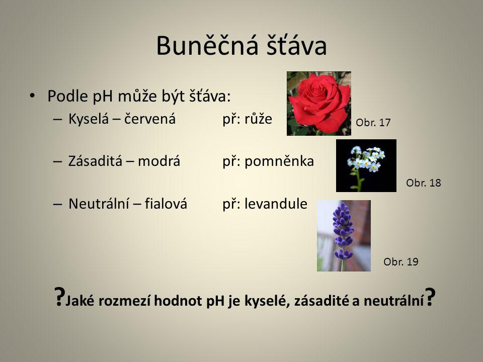 Buněčná šťáva • Podle pH může být šťáva: – Kyselá – červenápř: růže – Zásaditá – modrá př: pomněnka – Neutrální – fialová př: levandule ? Jaké rozmezí