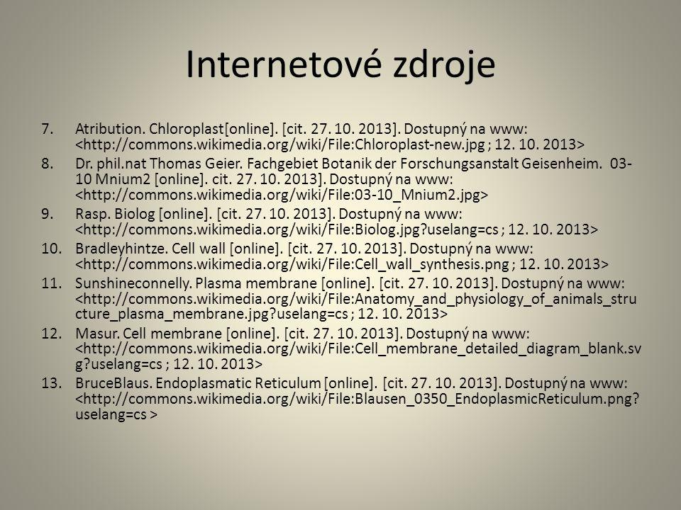 Internetové zdroje 7.Atribution. Chloroplast[online]. [cit. 27. 10. 2013]. Dostupný na www: 8.Dr. phil.nat Thomas Geier. Fachgebiet Botanik der Forsch