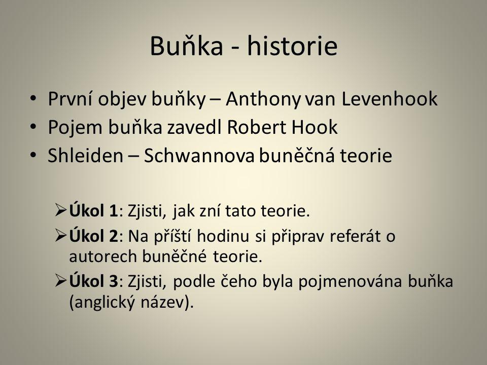 Buňka - historie • První objev buňky – Anthony van Levenhook • Pojem buňka zavedl Robert Hook • Shleiden – Schwannova buněčná teorie  Úkol 1: Zjisti,