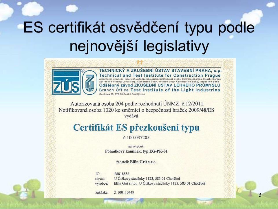 3 ES certifikát osvědčení typu podle nejnovější legislativy