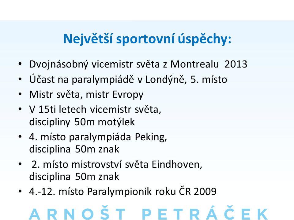 Největší sportovní úspěchy: • Dvojnásobný vicemistr světa z Montrealu 2013 • Účast na paralympiádě v Londýně, 5.