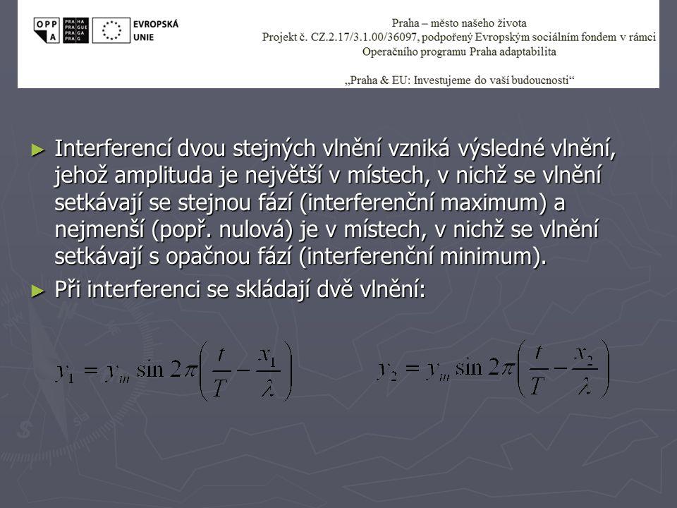 ► O tom, jak se vlnění složí, rozhoduje jejich fázový rozdíl Δφ: ► Výraz d=(x 2 -x 1 ) je dráhový rozdíl vlnění (dráhový posun).