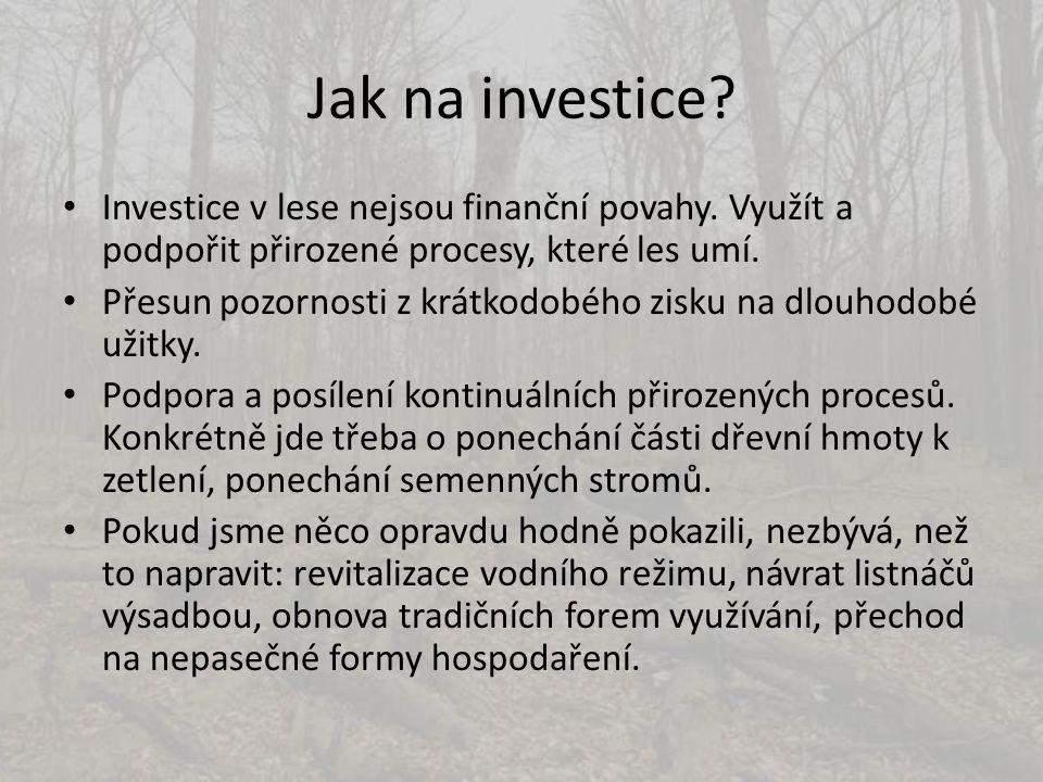 Jak na investice? • Investice v lese nejsou finanční povahy. Využít a podpořit přirozené procesy, které les umí. • Přesun pozornosti z krátkodobého zi