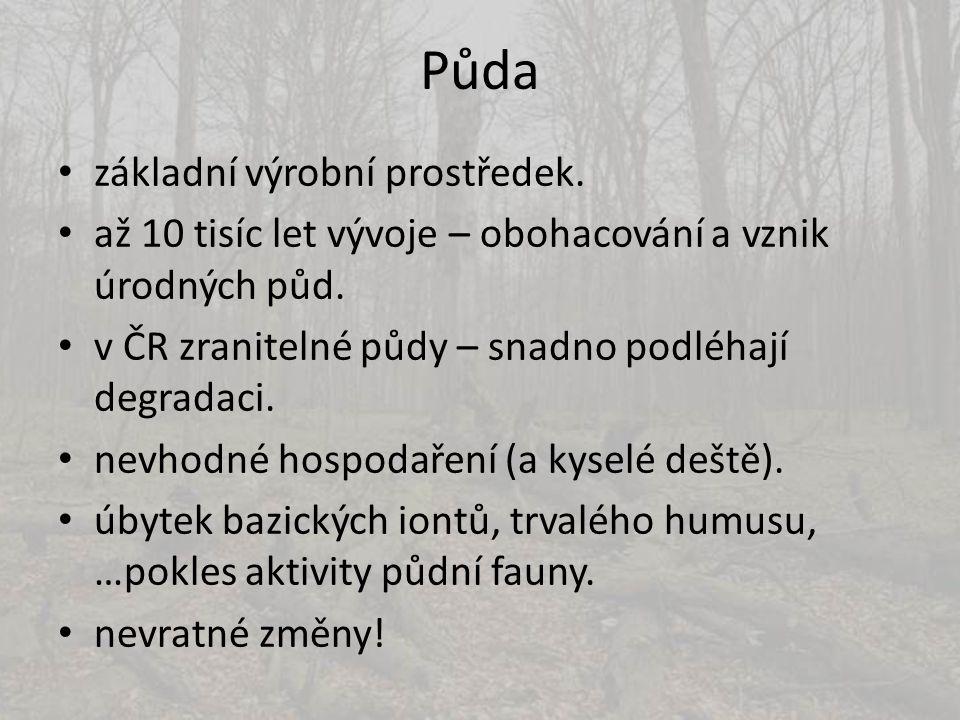 Půda • základní výrobní prostředek. • až 10 tisíc let vývoje – obohacování a vznik úrodných půd. • v ČR zranitelné půdy – snadno podléhají degradaci.
