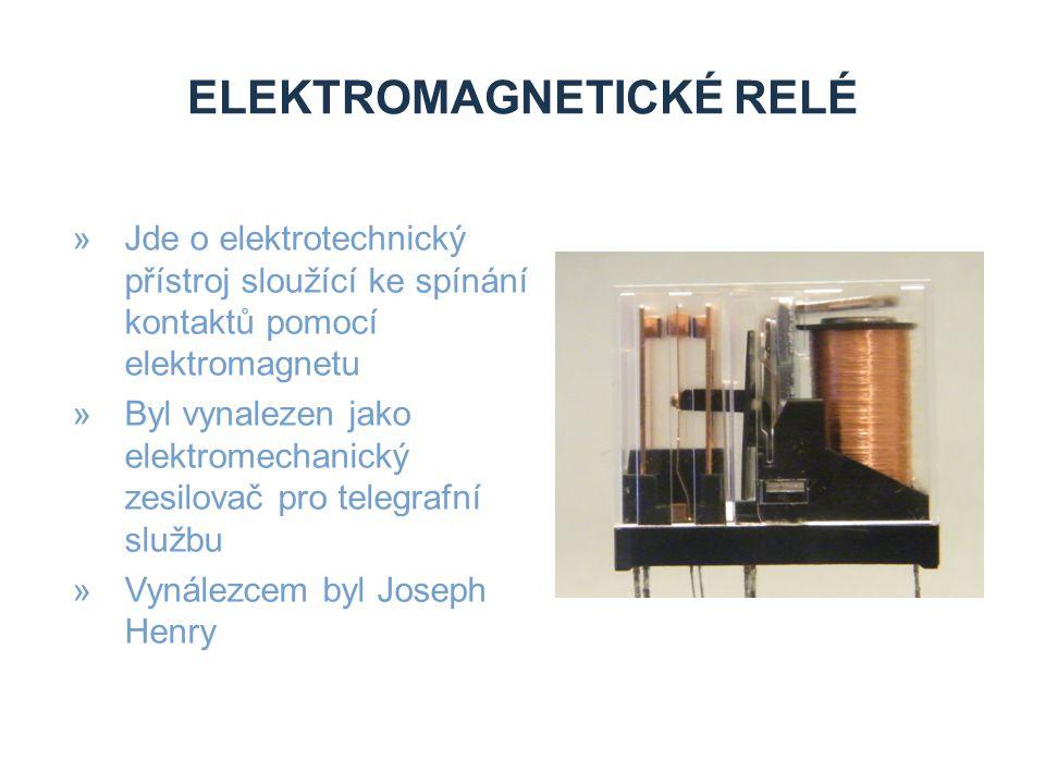 »Jde o elektrotechnický přístroj sloužící ke spínání kontaktů pomocí elektromagnetu »Byl vynalezen jako elektromechanický zesilovač pro telegrafní službu »Vynálezcem byl Joseph Henry