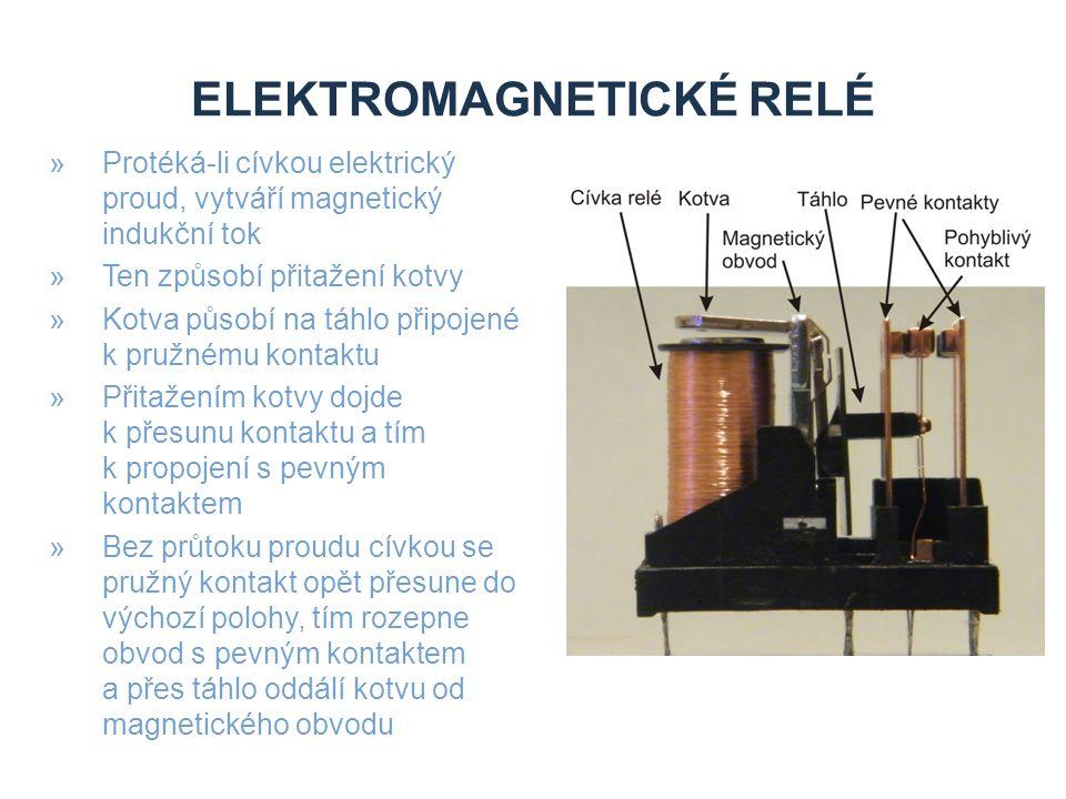 ELEKTROMAGNETICKÉ RELÉ »Protéká-li cívkou elektrický proud, vytváří magnetický indukční tok »Ten způsobí přitažení kotvy »Kotva působí na táhlo připojené k pružnému kontaktu »Přitažením kotvy dojde k přesunu kontaktu a tím k propojení s pevným kontaktem »Bez průtoku proudu cívkou se pružný kontakt opět přesune do výchozí polohy, tím rozepne obvod s pevným kontaktem a přes táhlo oddálí kotvu od magnetického obvodu