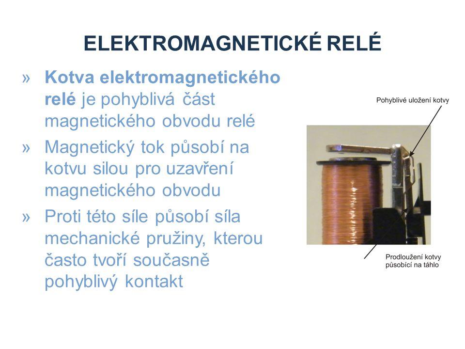 ELEKTROMAGNETICKÉ RELÉ »Kotva elektromagnetického relé je pohyblivá část magnetického obvodu relé »Magnetický tok působí na kotvu silou pro uzavření magnetického obvodu »Proti této síle působí síla mechanické pružiny, kterou často tvoří současně pohyblivý kontakt