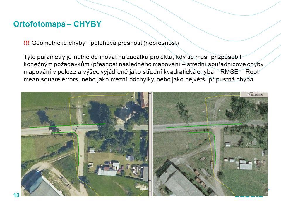 Ortofotomapa – CHYBY !!! Geometrické chyby - polohová přesnost (nepřesnost) Tyto parametry je nutné definovat na začátku projektu, kdy se musí přizpůs