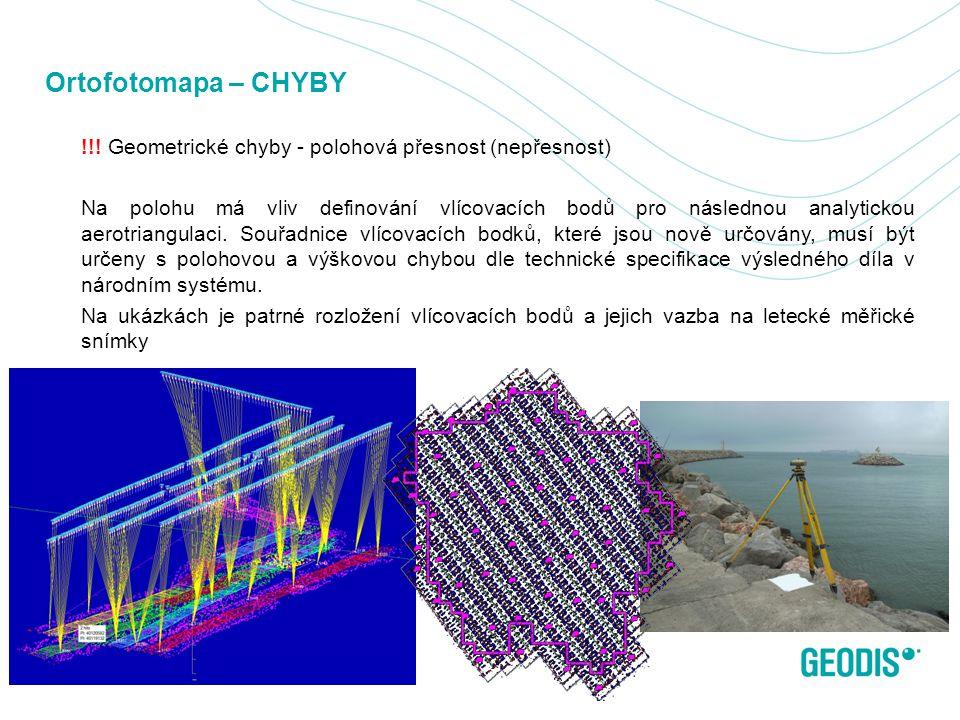 Ortofotomapa – CHYBY !!! Geometrické chyby - polohová přesnost (nepřesnost) Na polohu má vliv definování vlícovacích bodů pro následnou analytickou ae