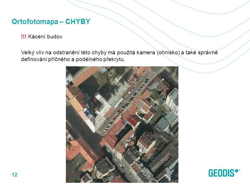 Ortofotomapa – CHYBY !!! Kácení budov Velký vliv na odstranění této chyby má použitá kamera (ohnisko) a také správné definování příčného a podélného p
