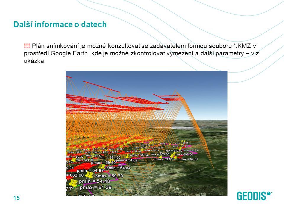 Další informace o datech !!! Plán snímkování je možné konzultovat se zadavatelem formou souboru *.KMZ v prostředí Google Earth, kde je možné zkontrolo