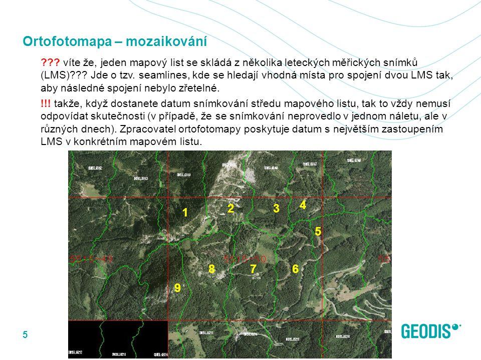 Ortofotomapa – mozaikování ??? víte že, jeden mapový list se skládá z několika leteckých měřických snímků (LMS)??? Jde o tzv. seamlines, kde se hledaj