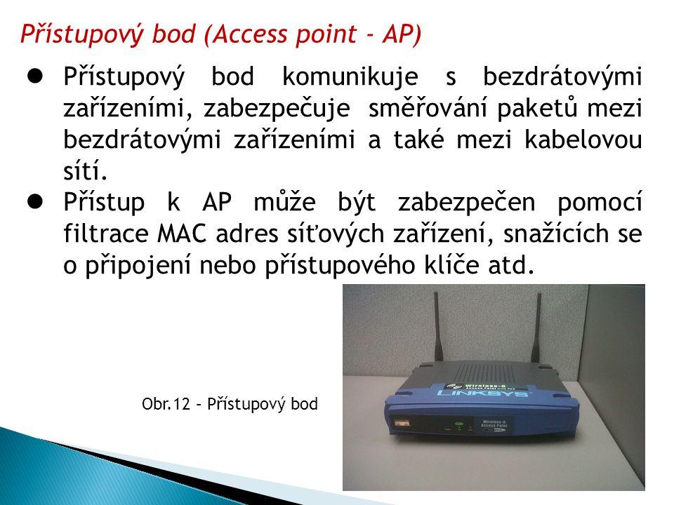 Přístupový bod (Access point - AP)  Přístupový bod komunikuje s bezdrátovými zařízeními, zabezpečuje směřování paketů mezi bezdrátovými zařízeními a