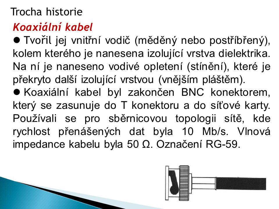 Trocha historie Koaxiální kabel  Tvořil jej vnitřní vodič (měděný nebo postříbřený), kolem kterého je nanesena izolující vrstva dielektrika. Na ní je