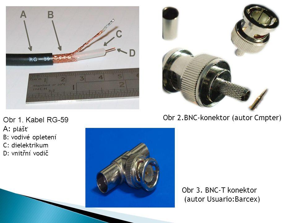 Obr 1. Kabel RG-59 А : plášť B: vodivé opletení C: dielektrikum D: vnitřní vodič Obr 2.BNC-konektor (autor Cmpter) Obr 3. BNC-T konektor (autor Usuari
