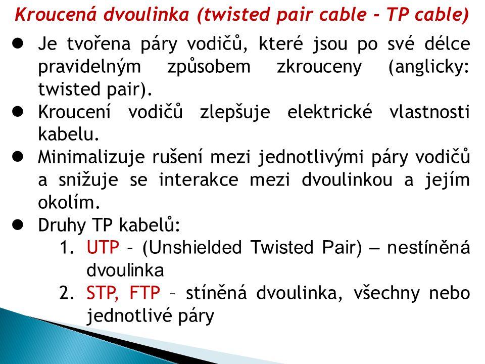 Kroucená dvoulinka (twisted pair cable - TP cable)  Je tvořena páry vodičů, které jsou po své délce pravidelným způsobem zkrouceny (anglicky: twisted