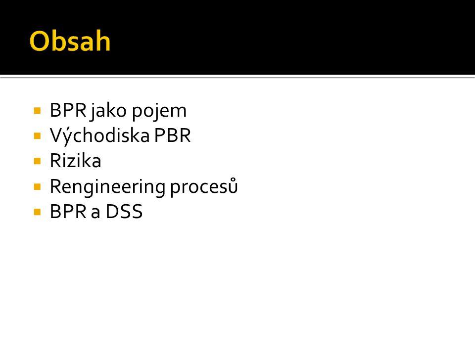  BPR jako pojem  Východiska PBR  Rizika  Rengineering procesů  BPR a DSS