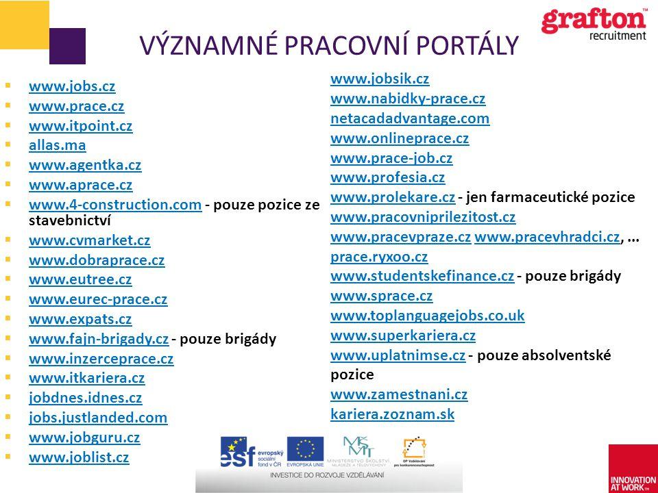 VÝZNAMNÉ PRACOVNÍ PORTÁLY  www.jobs.cz www.jobs.cz  www.prace.cz www.prace.cz  www.itpoint.cz www.itpoint.cz  allas.ma allas.ma  www.agentka.cz w
