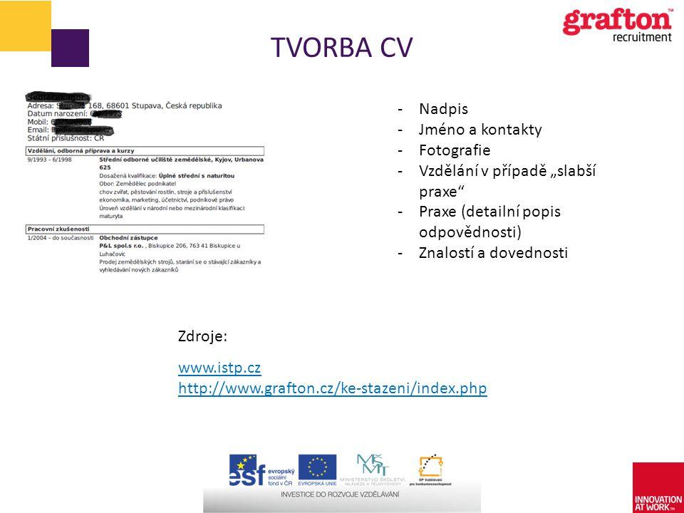 """TVORBA CV -Nadpis -Jméno a kontakty -Fotografie -Vzdělání v případě """"slabší praxe"""" -Praxe (detailní popis odpovědnosti) -Znalostí a dovednosti www.ist"""