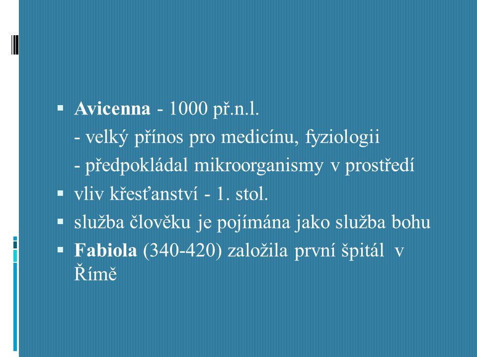  Avicenna - 1000 př.n.l. - velký přínos pro medicínu, fyziologii - předpokládal mikroorganismy v prostředí  vliv křesťanství - 1. stol.  služba člo