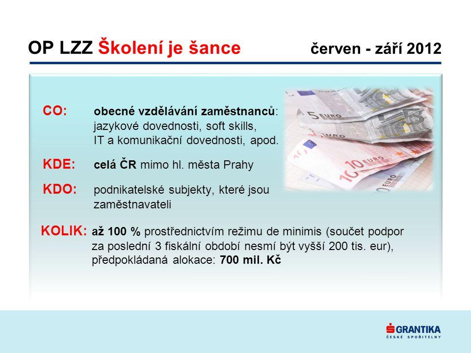 OP LZZ Školení je šance červen - září 2012 KOLIK: až 100 % prostřednictvím režimu de minimis (součet podpor za poslední 3 fiskální období nesmí být vyšší 200 tis.