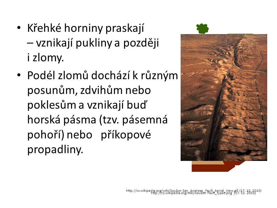 • Křehké horniny praskají – vznikají pukliny a později i zlomy. • Podél zlomů dochází k různým posunům, zdvihům nebo poklesům a vznikají buď horská pá