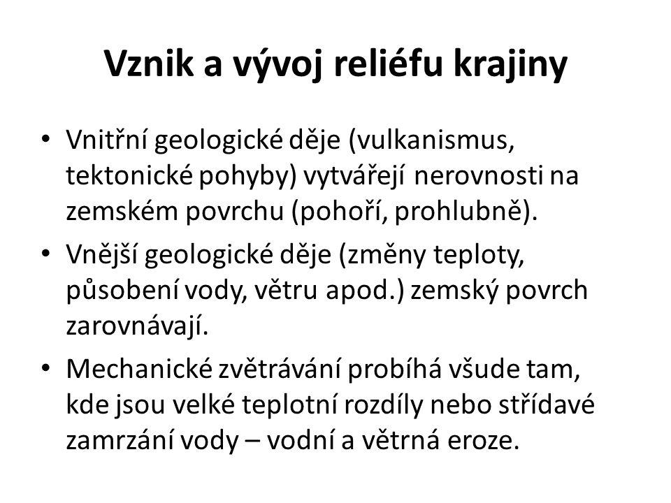Vznik a vývoj reliéfu krajiny • Vnitřní geologické děje (vulkanismus, tektonické pohyby) vytvářejí nerovnosti na zemském povrchu (pohoří, prohlubně).