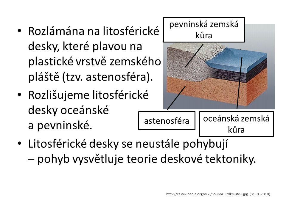 • Rozlámána na litosférické desky, které plavou na plastické vrstvě zemského pláště (tzv. astenosféra). • Rozlišujeme litosférické desky oceánské a pe