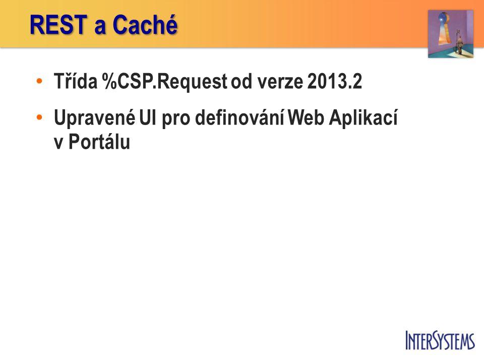 • Třída %CSP.Request od verze 2013.2 • Upravené UI pro definování Web Aplikací v Portálu REST a Caché