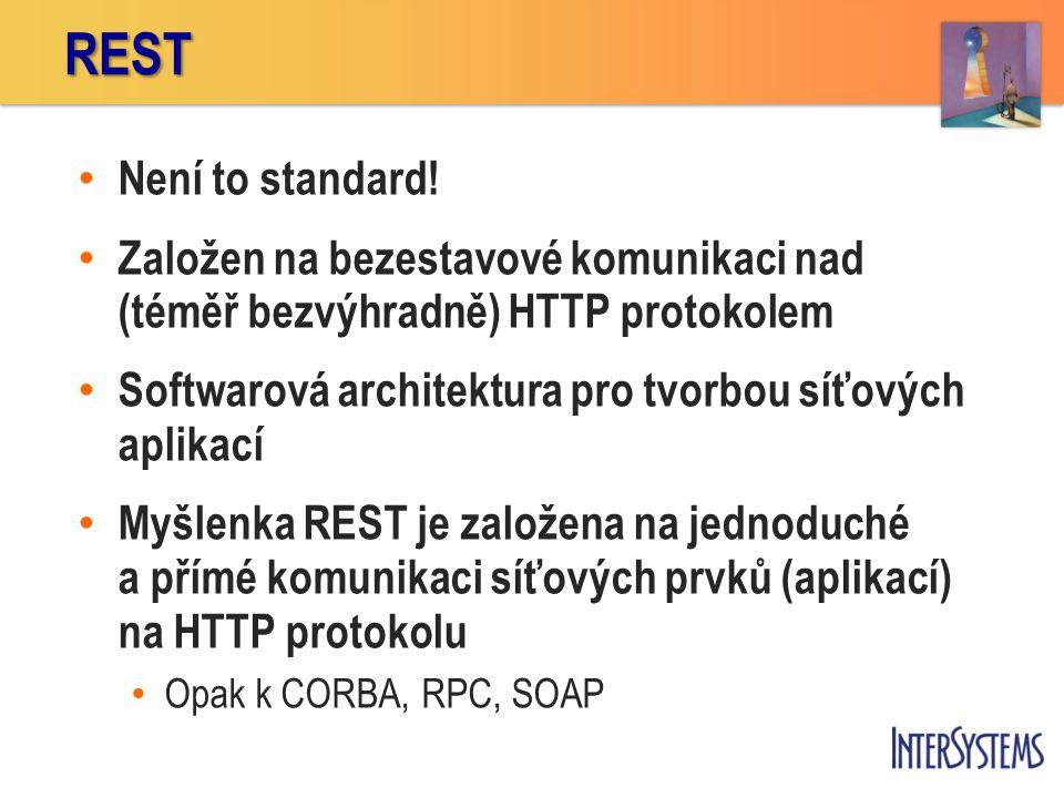 • Není to standard! • Založen na bezestavové komunikaci nad (téměř bezvýhradně) HTTP protokolem • Softwarová architektura pro tvorbou síťových aplikac