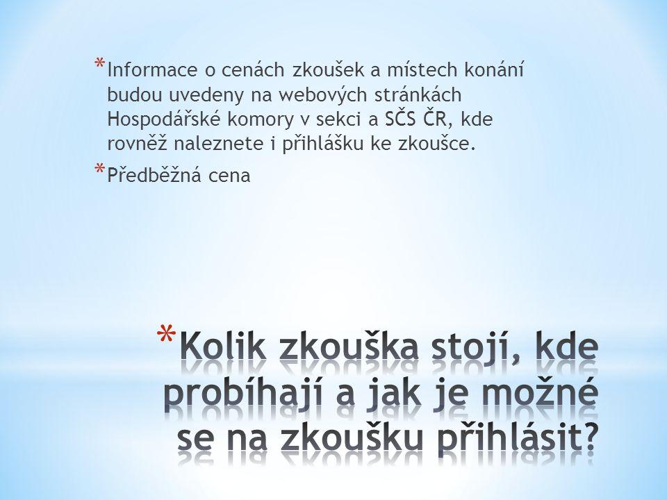 * Ne, Hospodářská komora spolu se SČS ČR pouze ověřuje již získané znalosti a dovednosti samotnou kvalifikační zkouškou. Více informací o možnostech r