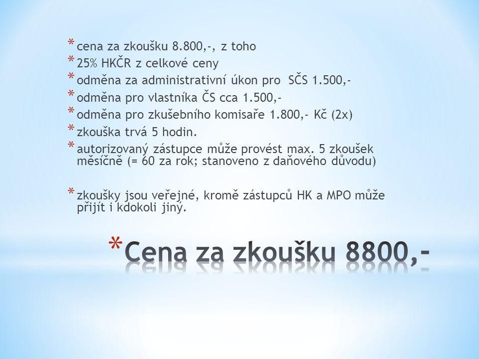* Informace o cenách zkoušek a místech konání budou uvedeny na webových stránkách Hospodářské komory v sekci a SČS ČR, kde rovněž naleznete i přihlášk