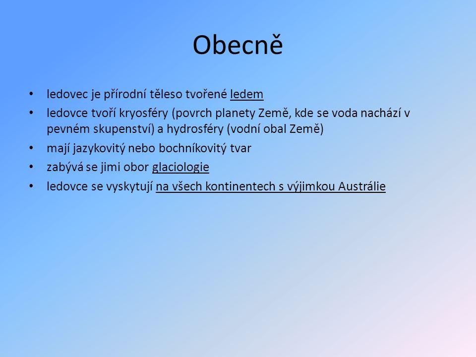 Obecně • ledovec je přírodní těleso tvořené ledem • ledovce tvoří kryosféry (povrch planety Země, kde se voda nachází v pevném skupenství) a hydrosfér
