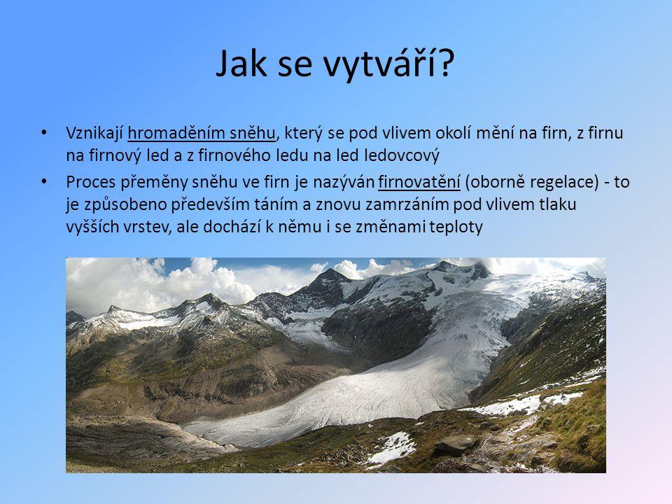 Jak se vytváří? • Vznikají hromaděním sněhu, který se pod vlivem okolí mění na firn, z firnu na firnový led a z firnového ledu na led ledovcový • Proc