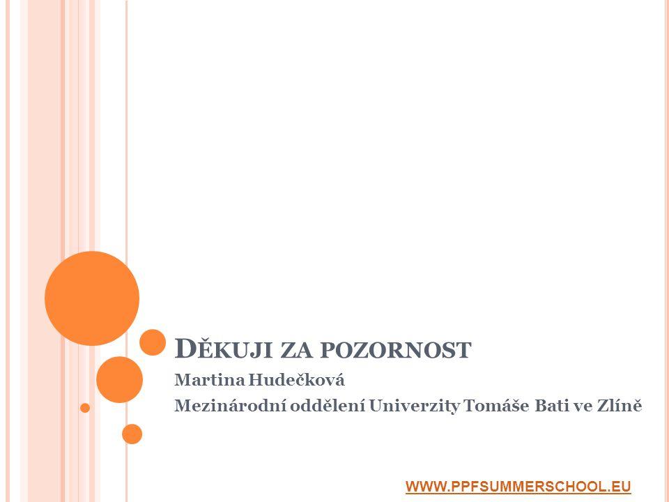 D ĚKUJI ZA POZORNOST Martina Hudečková Mezinárodní oddělení Univerzity Tomáše Bati ve Zlíně WWW.PPFSUMMERSCHOOL.EU