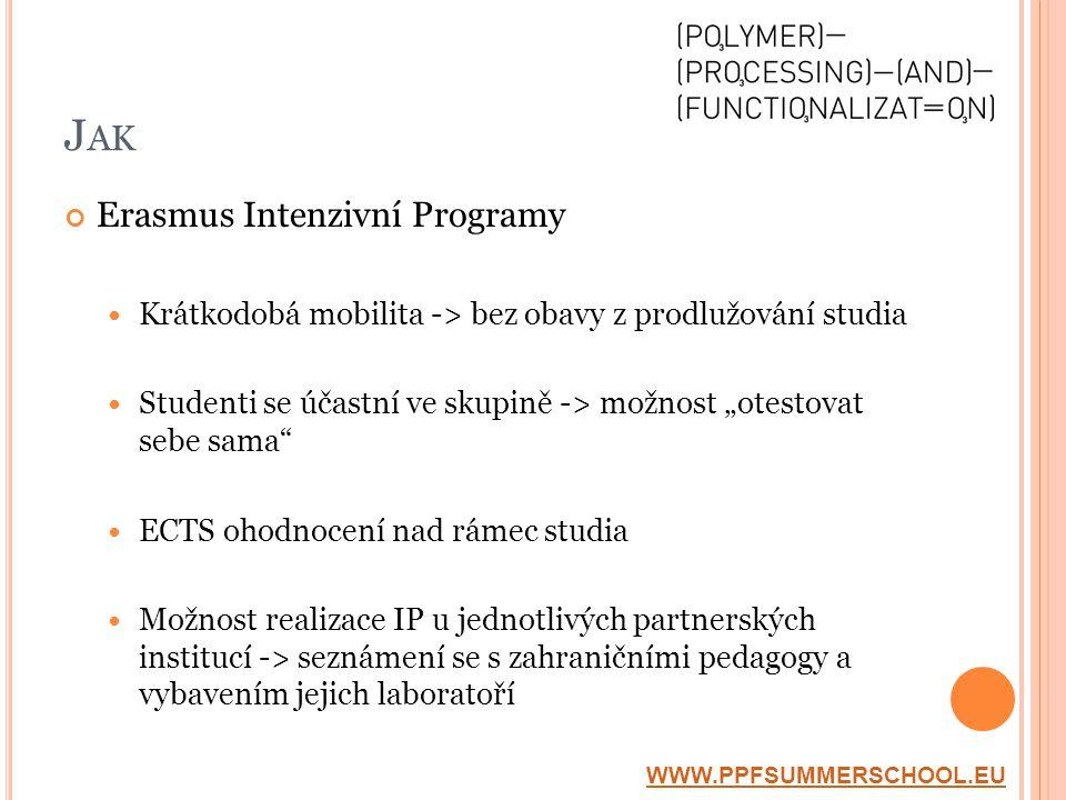 """J AK Erasmus Intenzivní Programy  Krátkodobá mobilita -> bez obavy z prodlužování studia  Studenti se účastní ve skupině -> možnost """"otestovat sebe sama  ECTS ohodnocení nad rámec studia  Možnost realizace IP u jednotlivých partnerských institucí -> seznámení se s zahraničními pedagogy a vybavením jejich laboratoří WWW.PPFSUMMERSCHOOL.EU"""