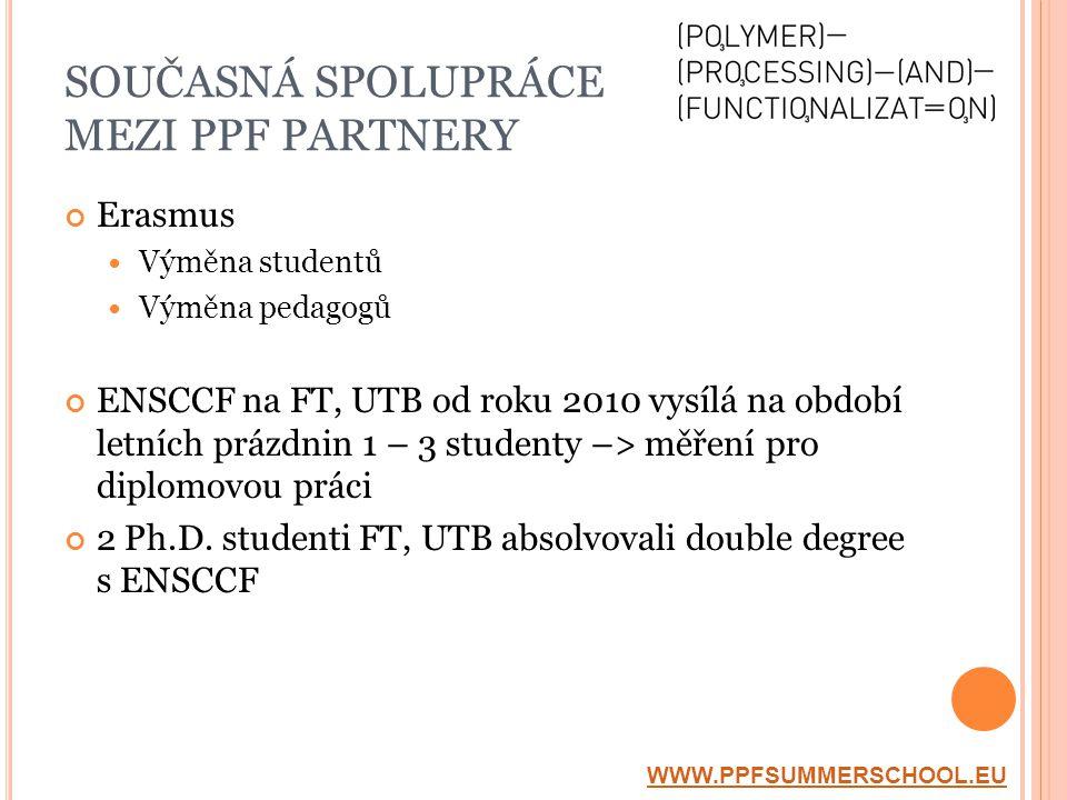 Erasmus  Výměna studentů  Výměna pedagogů ENSCCF na FT, UTB od roku 2010 vysílá na období letních prázdnin 1 – 3 studenty –> měření pro diplomovou práci 2 Ph.D.
