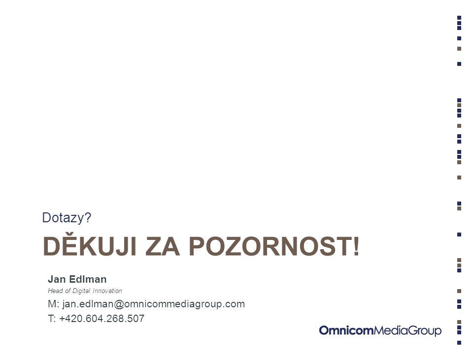 DĚKUJI ZA POZORNOST! Dotazy? Jan Edlman Head of Digital Innovation M: jan.edlman@omnicommediagroup.com T: +420.604.268.507