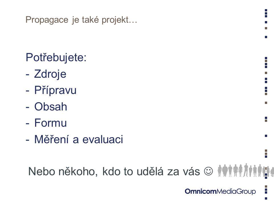 Propagace je také projekt… Potřebujete: -Zdroje -Přípravu -Obsah -Formu -Měření a evaluaci Nebo někoho, kdo to udělá za vás 