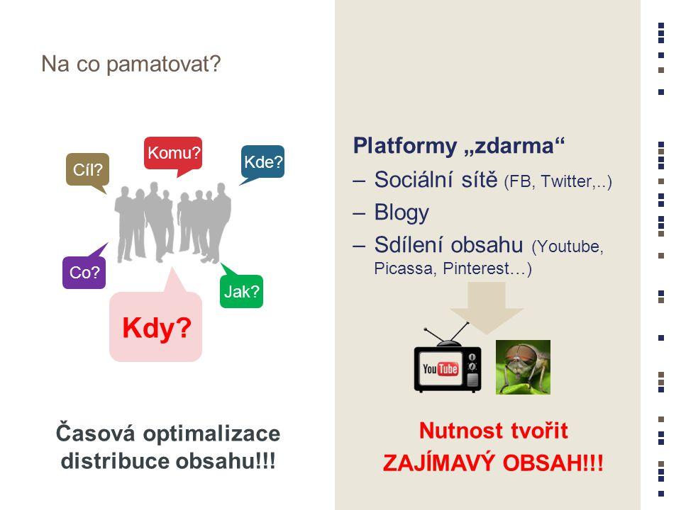 """Na co pamatovat? Platformy """"zdarma"""" –Sociální sítě (FB, Twitter,..) –Blogy –Sdílení obsahu (Youtube, Picassa, Pinterest…) Nutnost tvořit ZAJÍMAVÝ OBSA"""